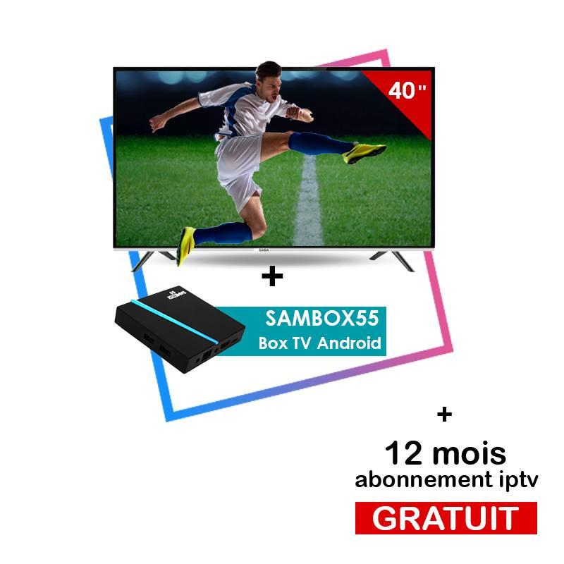 Pack Promo Téléviseur Saba 40 Pouces FHD + Box TV Android Sambox 55 IPTV d'usine