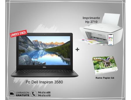 Pack Promo Pc Dell Inspiron 3580 + Imprimante Hp DeskJet 2710 + Rame Papier