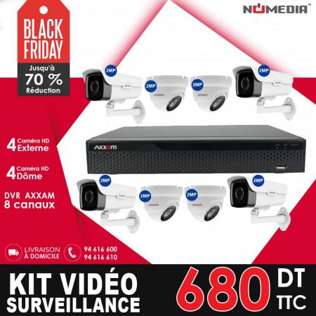 Kit Vidéo Surveillance AXXAM à 8 Caméras HD 2MP, ensemble complet