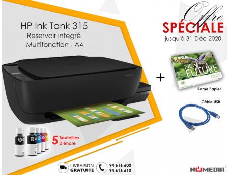 Pack Promo Imprimante Hp Ink Tank 315 + Rame Papier + Câble USB