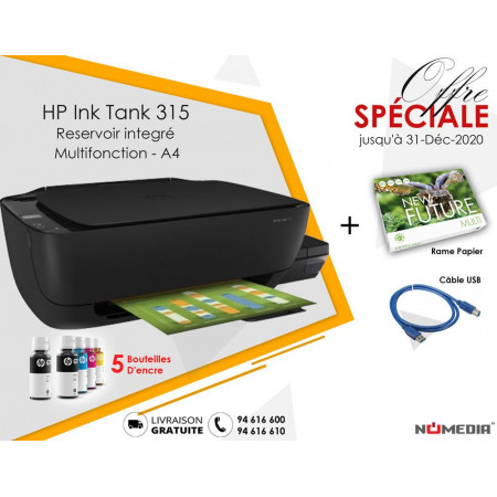 Pack Promo Imprimante Hp Ink Tank 315 + Rame Papier + Câble USB