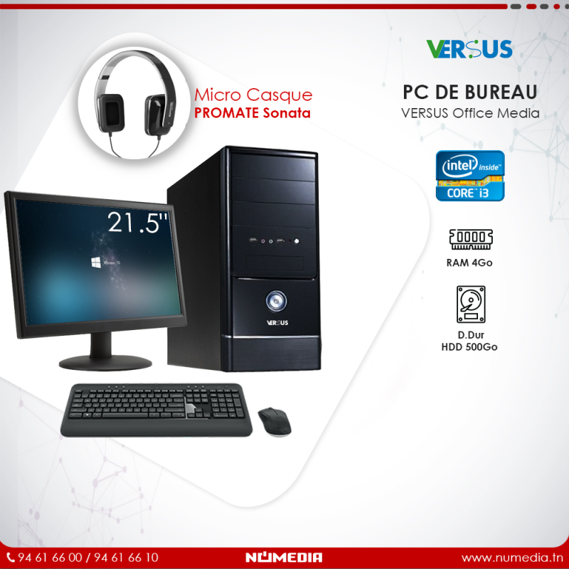 Versus Office Media, Pc de Bureau Intel Core i3 Ram 4Go, HDD 500Go Complet
