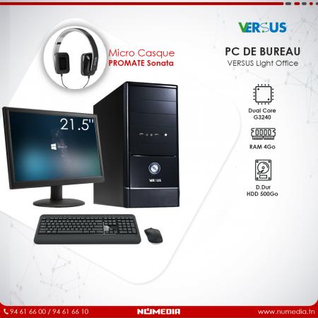 Versus Light Office, Pc de Bureau Dual Core G3240 Ram 4Go, HDD 500Go Complet