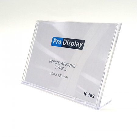 Pro Display K-169, Porte Affiche Type L 203 x 152 mm Transparent