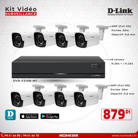 Kit Vidéosurveillance D-Link HD 8 Caméras 2MP + DVR, ensemble complet