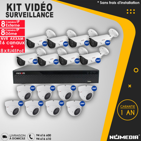 Kit Vidéo Surveillance AXXAM à 16 Caméras IP 2MP IR 40m et NVR 8 Canaux + 8 RJ45 POE