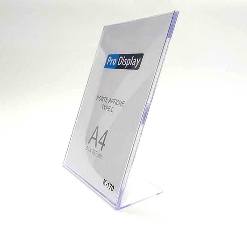 Pro Display K-170, Porte Affiche Type L Verticale A4 Transparent