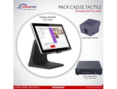 Pack Promo Caisse tactile ZQ-T8556 et Imprimante de Tickets de Zonerich, Tiroir caisse