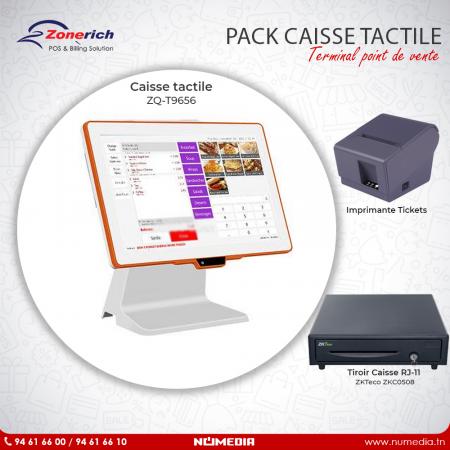 Pack Promo Caisse tactile ZQ-T9656 et Imprimante de Tickets de Zonerich, Tiroir caisse