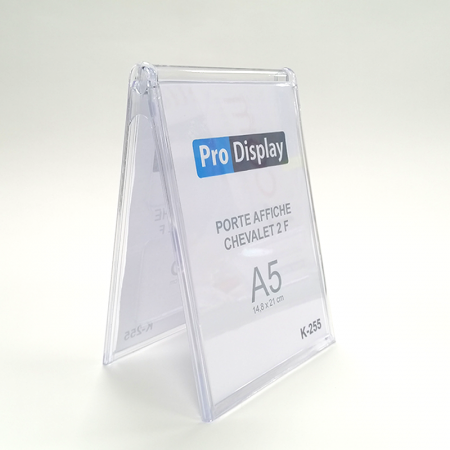 Pro Display K-255, Porte Affiche Chevalet Double Face A5 Transparent