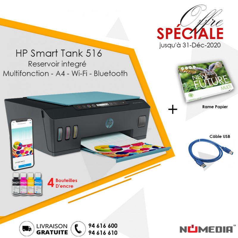 Pack Promo Imprimante Hp Smart Tank 516 + Rame Papier + Câble USB