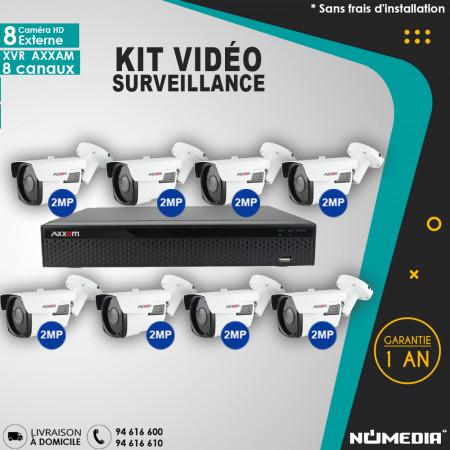 Kit Vidéo Surveillance AXXAM à 8 Caméras HD Externe 2MP 4en1 Bullet IR 60m et XVR