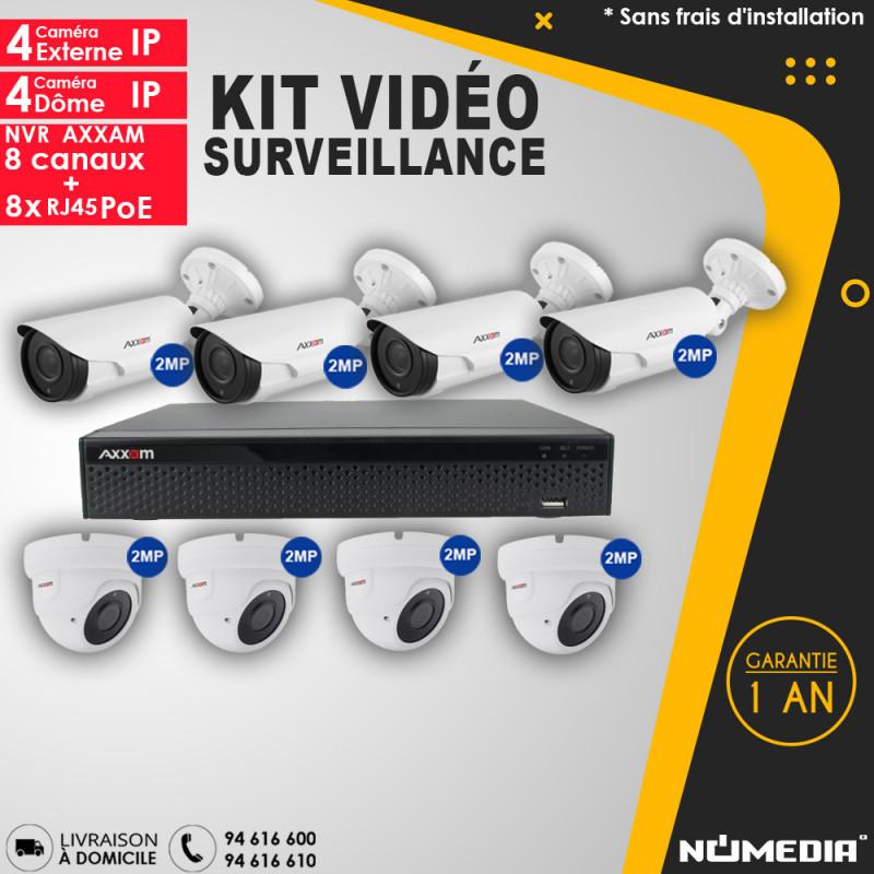 Kit Vidéo Surveillance AXXAM à 8 Caméras IP 2MP IR 40m et NVR à 8 Canaux + 8 RJ45 POE