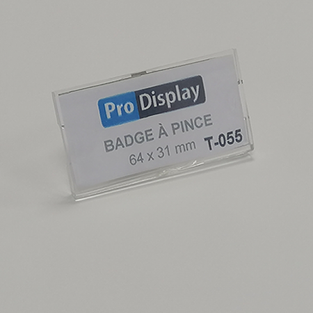 Pro Display T-055, Badge à pince rectangulaire 64 x 31 mm transparent
