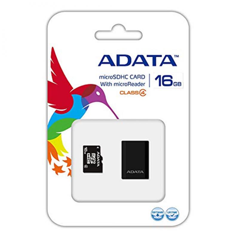 Adata AUSDH16GCL4, Carte Mémoire micro SDHC 16GB Class 4 avec Adaptateur