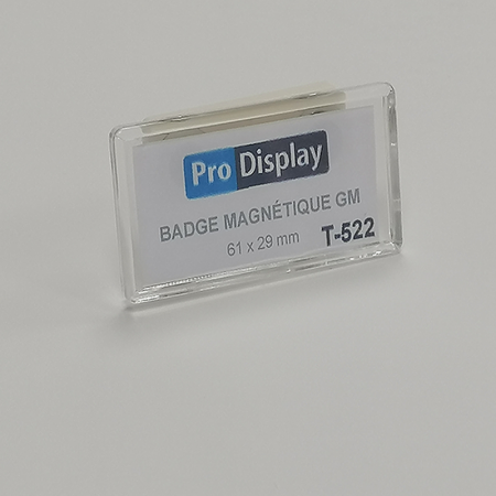 Pro Display T-522, Badge magnétique rectangulaire 61 x 29 mm transparent
