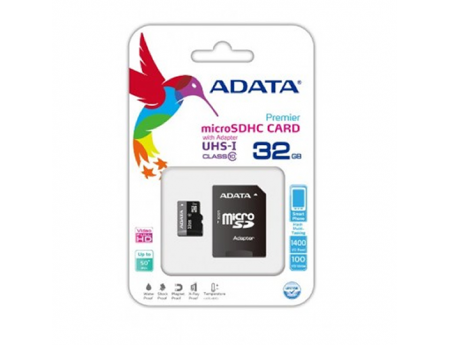 Adata AUSDH32GCL10, Carte Mémoire micro SDHC 32GB Class 10 avec Adaptateur