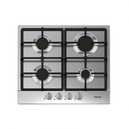 Focus F408X, Plaque de cuisson à Gaz de 60 cm à Grilles en fentes Inox
