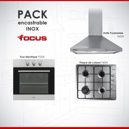 Pack Encastrable de Focus Four électrique + Plaque de cuisson + Hotte en Inox