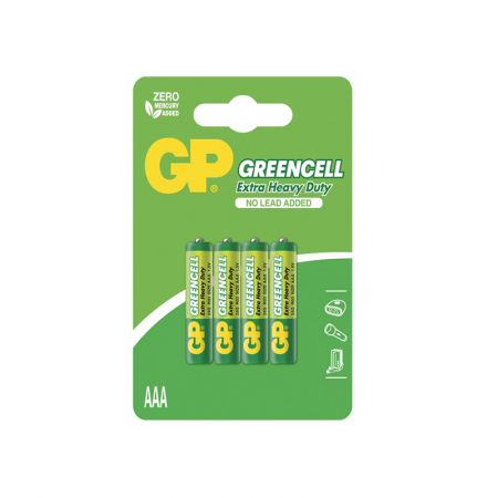 GP Greencell, Lot 4 Piles Jetables 1.5 V Carbon Zinc AAA
