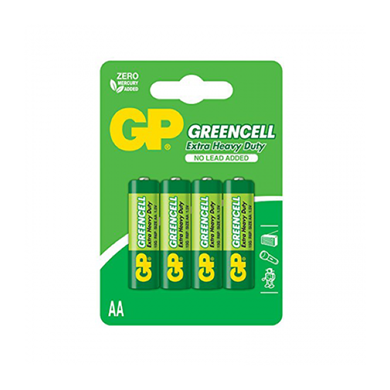 GP Greencell, Lot 4 Piles 1.5 V Jetables AA, R6