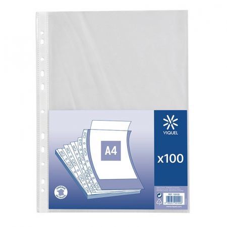 Intercalaires simple Sachet de 100 pochettes transparent de Viquel 60 microns A4