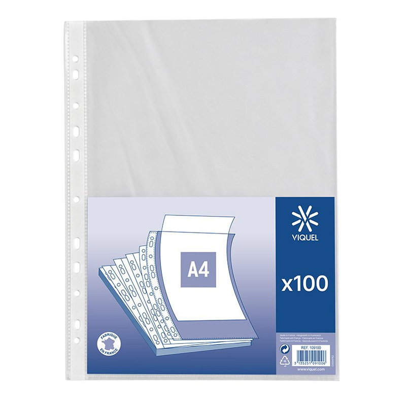 Intercalaires simple Sachet de 100 pochettes transparent de Viquel 60 microns A4