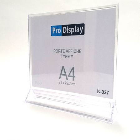 Pro Display K-027, Porte Affiche Type Y Double Face A4 Transparent