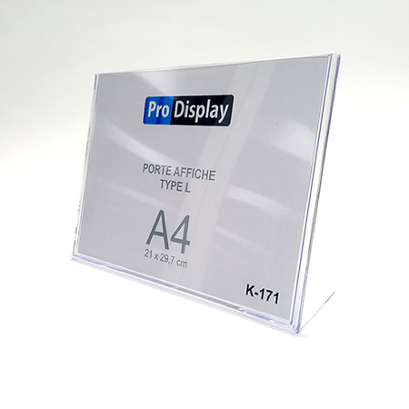 Pro Display K-171, Porte Affiche Type L Horizontale A4 Transparent