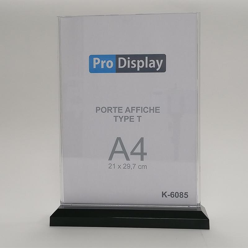 Pro Display K-6085V, Porte Affiche Type T Double Face 100 x 220 mm Transparent
