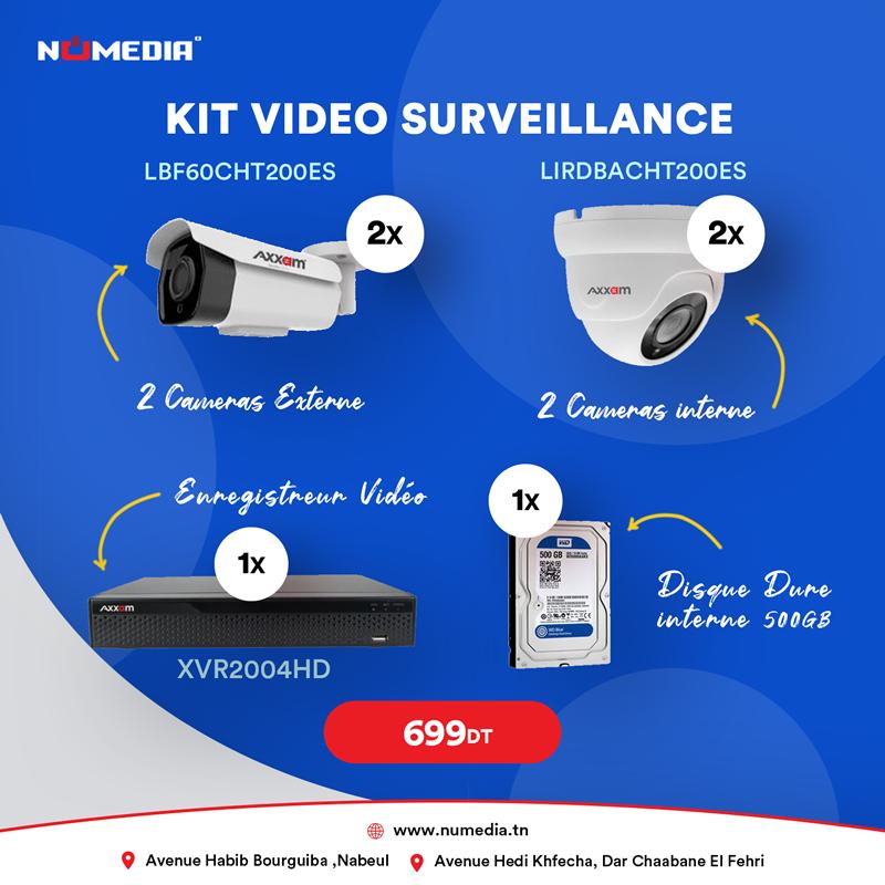 Pack Vidéosurveillance Aanalogique HDCVI/TVI 4 Caméras + Enregistreur Vidéo+ DD 500Go