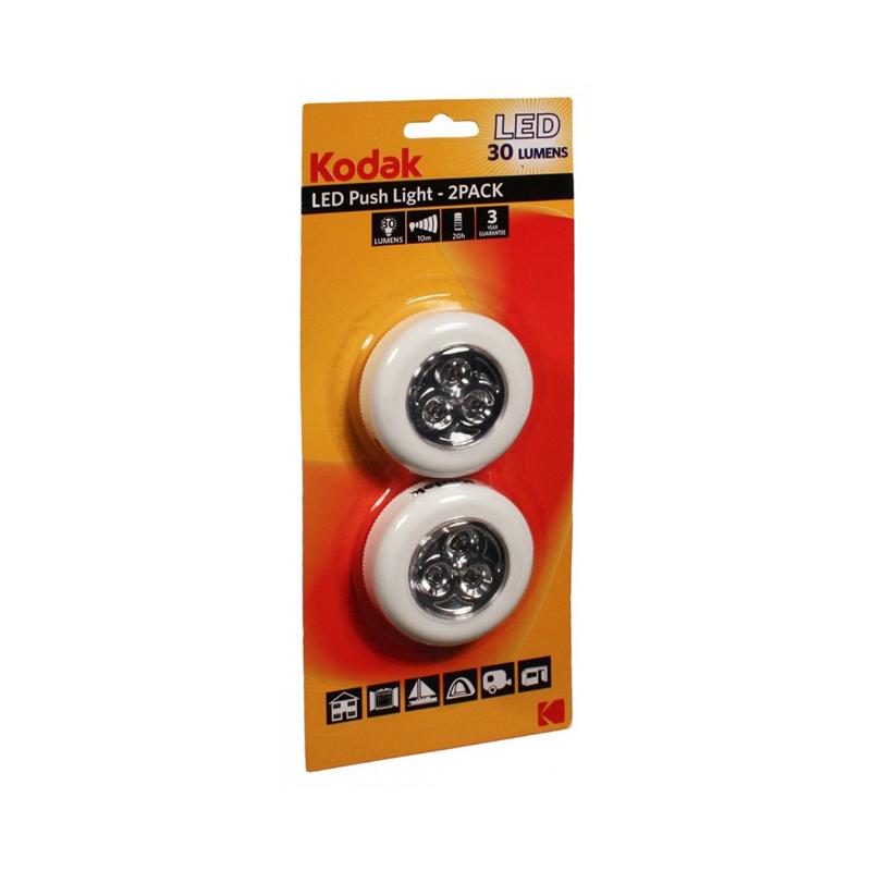 Torche Kodak Push Light 2x LED 30 Lumens en Blanc
