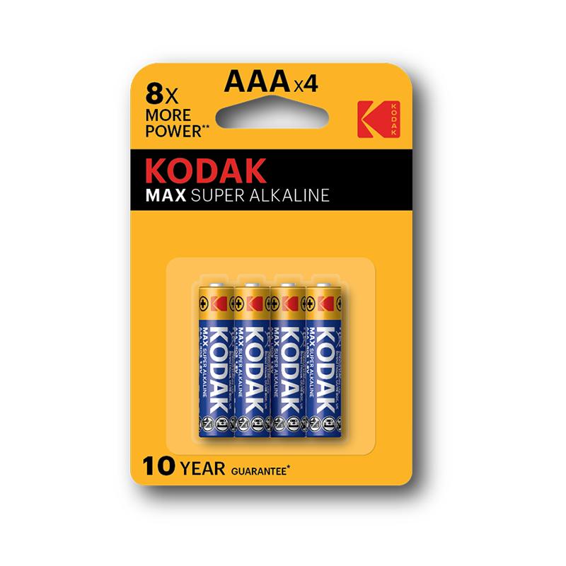 Kodak Max Super Alkaline LR03AAA4, lot 4 Piles Jetables 1.5 V, AAA x 4