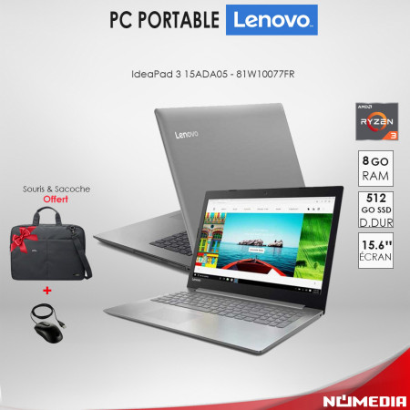 Lenovo IdeaPad 3 15ADA05, Pc portable AMD Ryzen 3 Ram 8Go, 512 Go SSD Gris