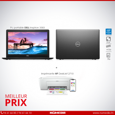 Pack Promo Pc portable Dell Inspiron 3583 + Imprimante HP DeskJet 2710 3en1
