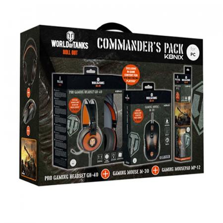 Pack Gamer Konix World Of Tank 3en1 Tapis, Souris et Casque
