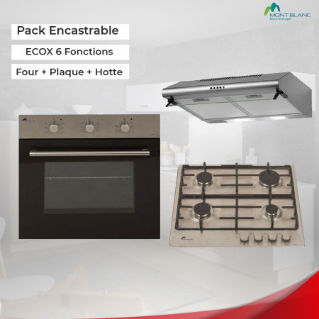 Pack Encastrable Montblanc ECOX 6 Fonctions Four + Plaque + Hotte
