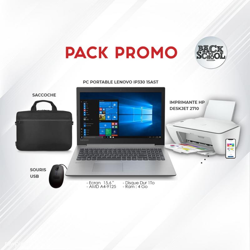 Pack Promo Pc Lenovo + Imprimante Hp 2710 + Saccoche + souris