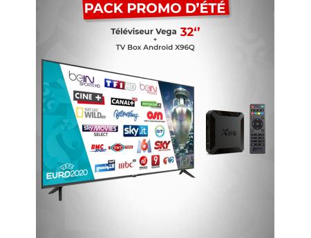 Pack Promo Téléviseur Vega 32 Pouces LED HD + Box TV Android X96Q