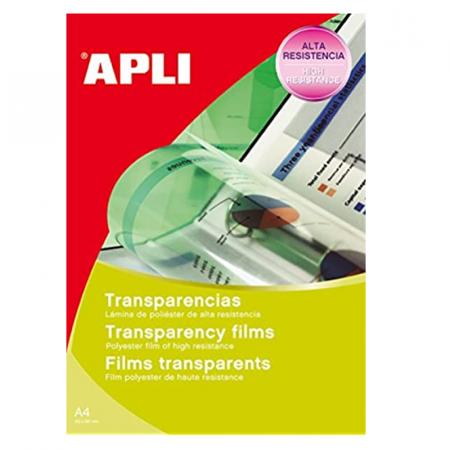 Paquet de 50 films transparents pour Jet d'encre APLI A4