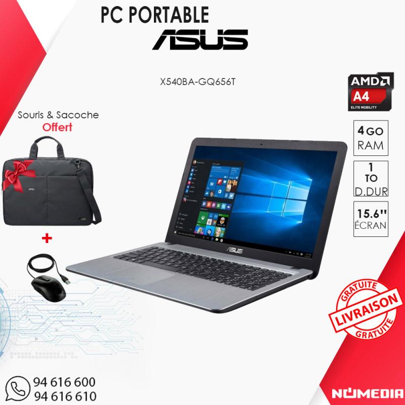 Asus X540BA, PC Portable AMD A4-9125 Ram 4Go DD 1To Win 10 Noir + Saccoche et Souris