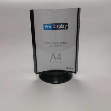Pro Display K-189, Porte Affiche Rotatif 3 Faces A4 Transparent