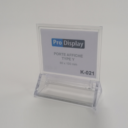 Pro Display K-021, Porte Affiche Type Y Double Face 100 x 80 mm Transparent
