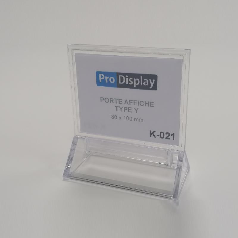 Pro Display K-021, Porte Affiche Type Y Double Face 100 x 80 mm Transparent