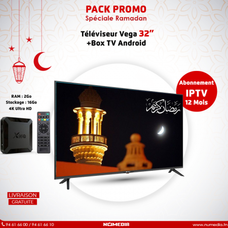 Pack Promo Téléviseur Vega 32 Pouces LED HD + Box TV Android X96Q IPTV