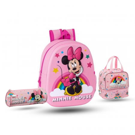 Pack sac à dos crèche 3D, sac à goûter et trousse pour fille en Rose