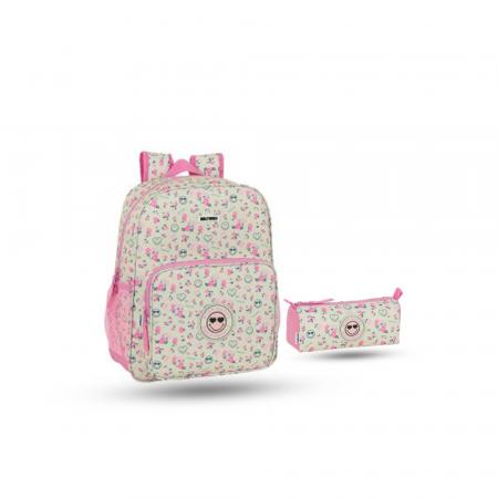 Pack sac à dos Junior 38 cm et trousse pour fille en Beige et Rose