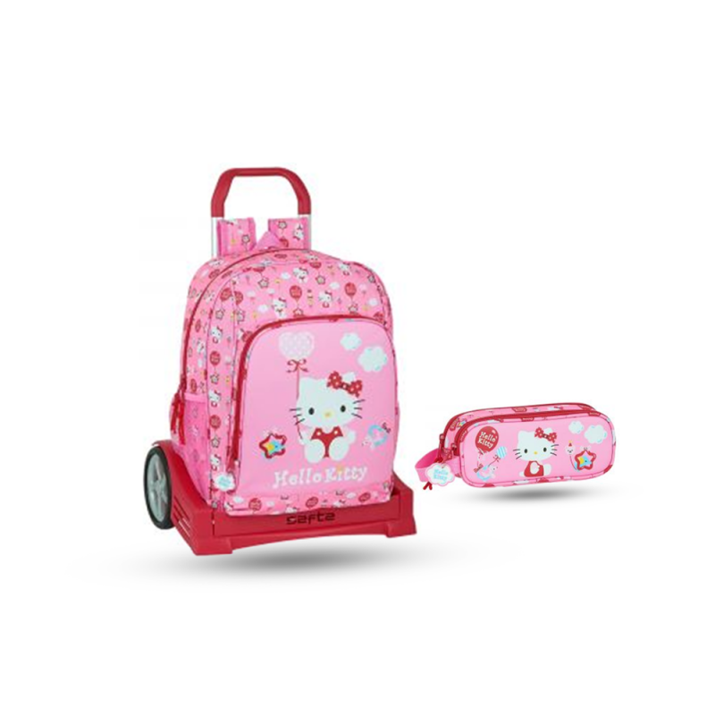 Pack sac à dos Compact avec chariot et trousse pour fille en Rose