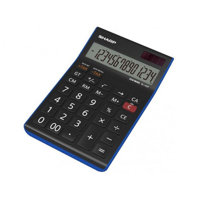 Sharp EL 145, calculatrice de bureau à 14 chiffres - bleu