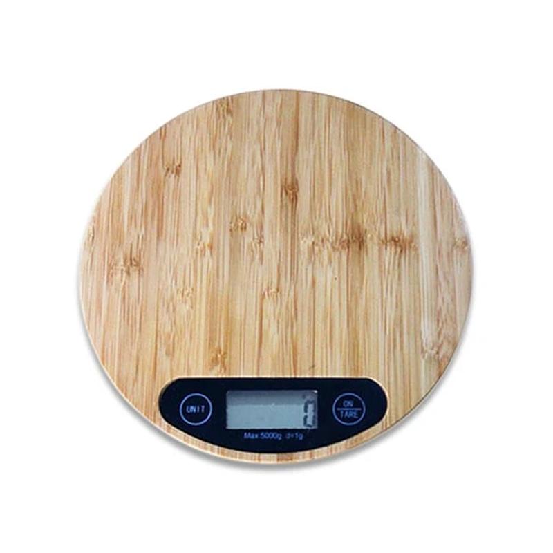 Balance de cuisine numérique en bois de bambou - 5 kg